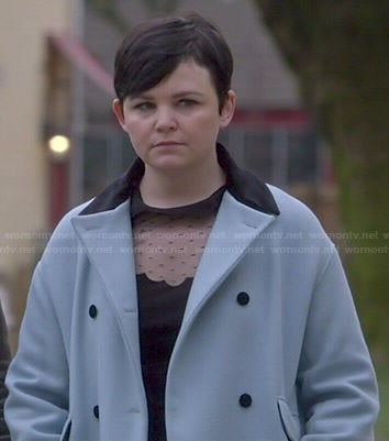 Mary's blue coat and black dotted dress with scalloped collar on Once Upon a Time