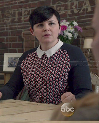Mary's navy and red patterned sweater with collar on Once Upon a Time
