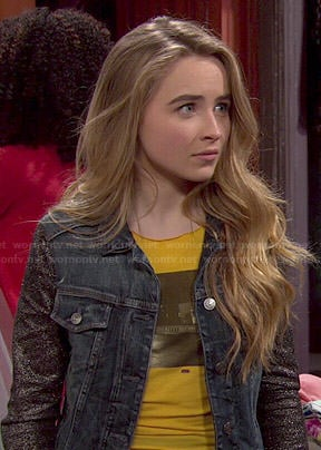 Maya's denim jacket with glitter sleeves on Girl Meets World