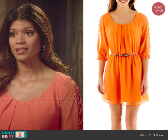 My Michelle Lattice 3/4 Sleeve Belted Dress worn by Xiomara Villanueva (Andrea Navedo) on Jane the Virgin