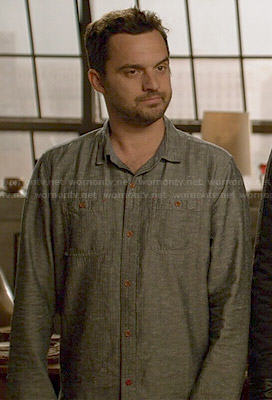 Nick's grey button down shirt on New Girl