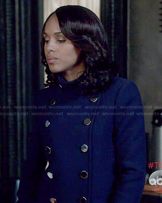 Olivia's navy blue double breasted jacket on Scandal