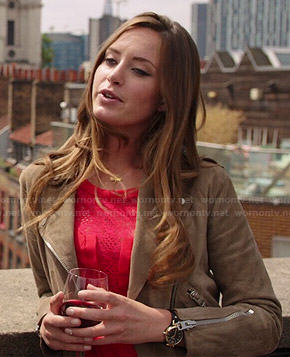 Ophelia's red lace panel dress and suede moto jacket on The Royals
