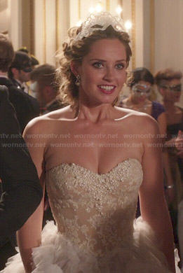 Ophelia's strapless gown on The Royals