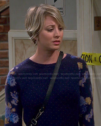 Penny's blue floral and dot print sweater on The Big Bang Theory