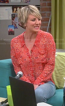 Penny's orange printed blouse on The Big Bang Theory