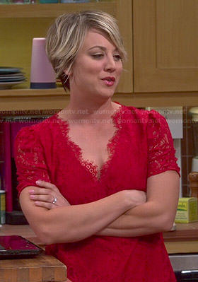 Penny's red lace v-neck top on The Big Bang Theory