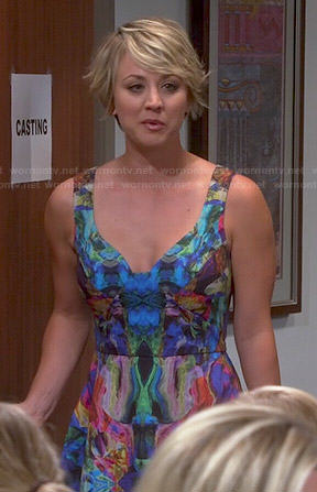 Penny's watercolor print dress on The Big Bang Theory