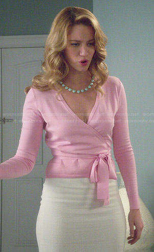 Petra's pink wrap cardigan on Jane the Virgin