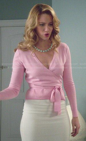 Petra's pink wrap cardigan on Jane the Virgin