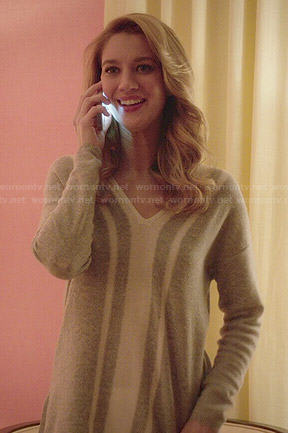 Petra's grey vertical striped sweater on Jane the Virgin