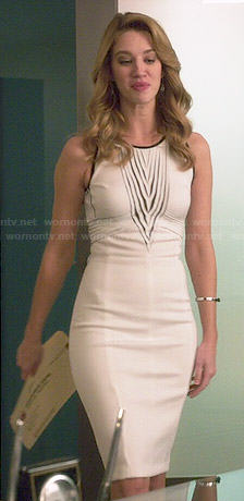 Petra's white dress with black trim on Jane the Virgin