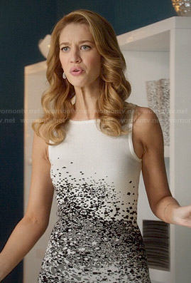 Petra's white spray paint print dress on Jane the Virgin