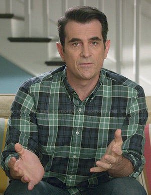 Phil's green and blue plaid shirt on Modern Family