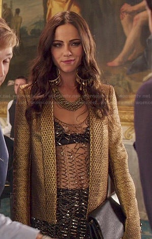 Princess Eleanor's mesh top and gold jacket on The Royals