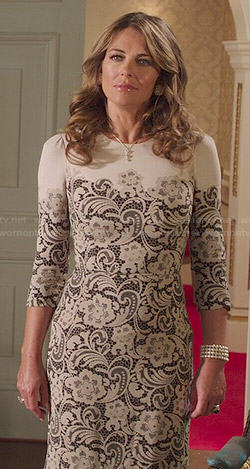 Queen Helena's black and white lace dress on The Royals