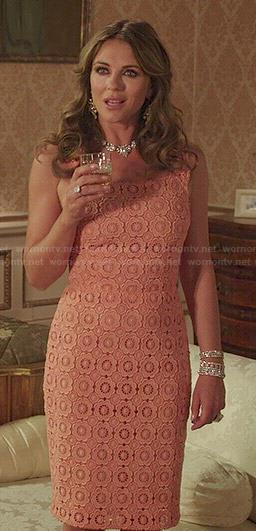 Queen Helena's coral crochet dress on The Royals