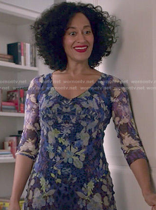 Rainbow's blue floral v-neck dress on Black-ish