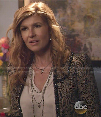Rayna's paisley printed jacket with studded trim on Nashville