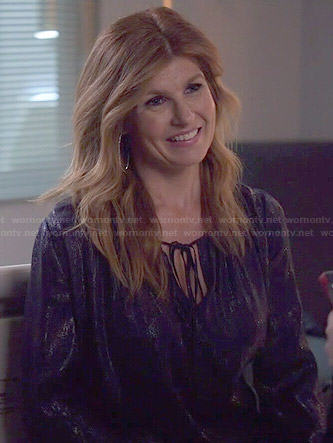 Rayna's blue metallic keyhole blouse on Nashville