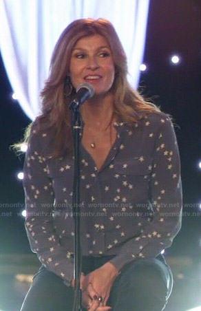 Rayna's blue star print blouse on Nashville