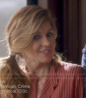 Rayna's orange vertical striped shirt on Nashville