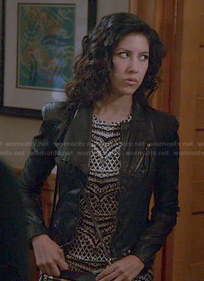 Rosa's black and white printed dress and leather jacket on Brooklyn Nine-Nine