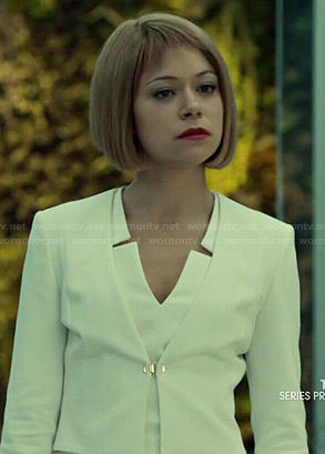Sarah (dressed as Rachel)'s white v-neck dress and jacket on Orphan Black