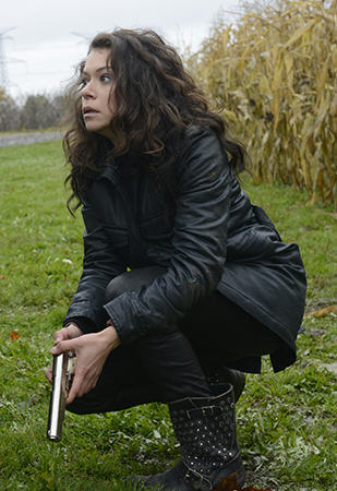 Sarah's black studded boots on Orphan Black