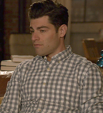 Schmidt's grey gingham checked shirt on New Girl