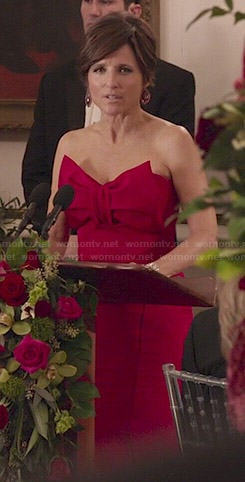 Selina's red strapless gown with bow on Veep