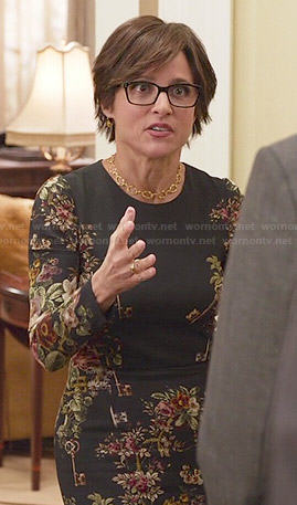 Selina's black floral and key print dress on Veep