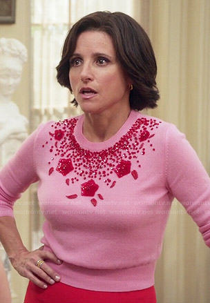 Selina's pink beaded sweater on Veep