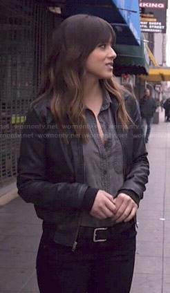Skye's grey chambray shirt and leather bomber jacket on Agents of SHIELD