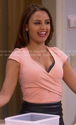 Sofia's peach wrap top on Young and Hungry