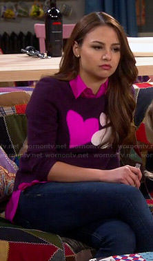Sofia's purple heart sweater on Young and Hungry