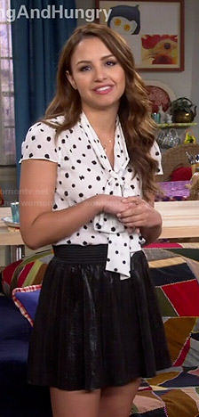 Sofia's white neck-tie blouse with black dots on Young and Hungry