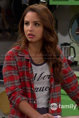 Sofia's Merci Beaucoup top and red plaid shirt on Young and Hungry