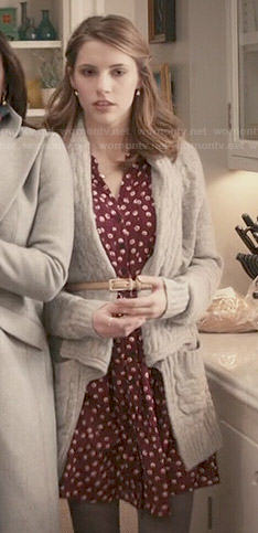Stevie's red printed dress and knit cardigan on Madam Secretary