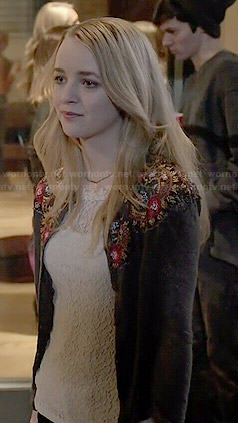 Taylor's floral embroidered cardigan on Finding Carter