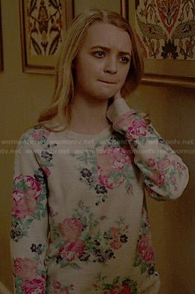 Taylor's floral sweater on Finding Carter
