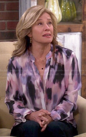Vanessa's pink watercolor print blouse on Last Man Standing