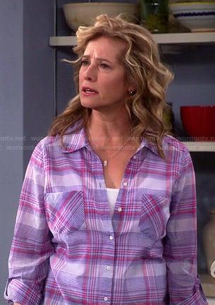 Wornontv Vanessa S Purple Plaid Shirt On Last Man