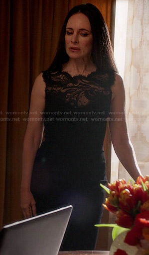 Victoria's black lace illusion dress on Revenge