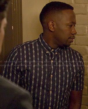 Winston's blue patterned stripe short sleeve shirt on New Girl