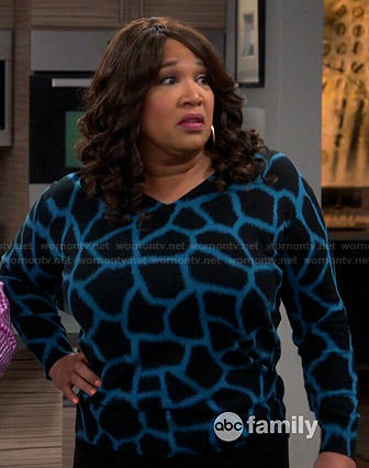 Yolanda's blue giraffe print sweater on Young and Hungry