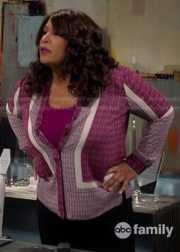 Yolanda's purple scarf printed blouse on Young and Hungry