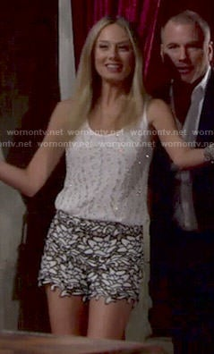 Abby's white beaded top and lace shorts on The Young and the Restless