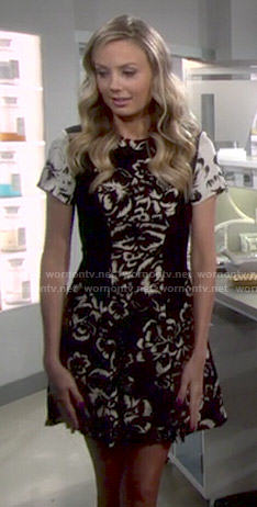 Abby's black and white floral dress on The Young and the Restless