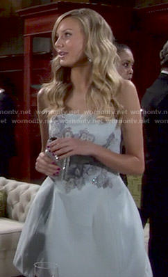 Abby's pastel blue embellished strapless dress on The Young and the Restless